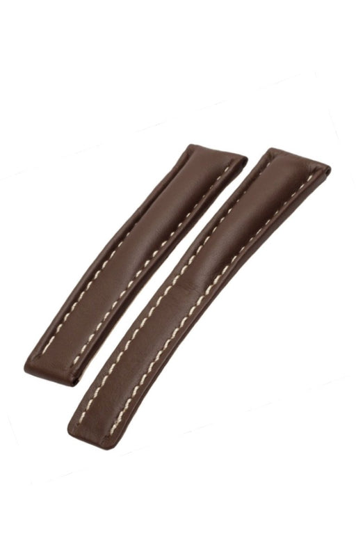 Breitling Deployment Style Calfskin Watch Band Dark Brown watch band - Strapped For Time