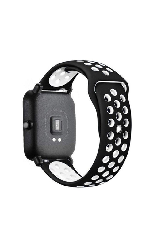 Easy Fit Perforated Silicone Black | White watch band - Strapped For Time®