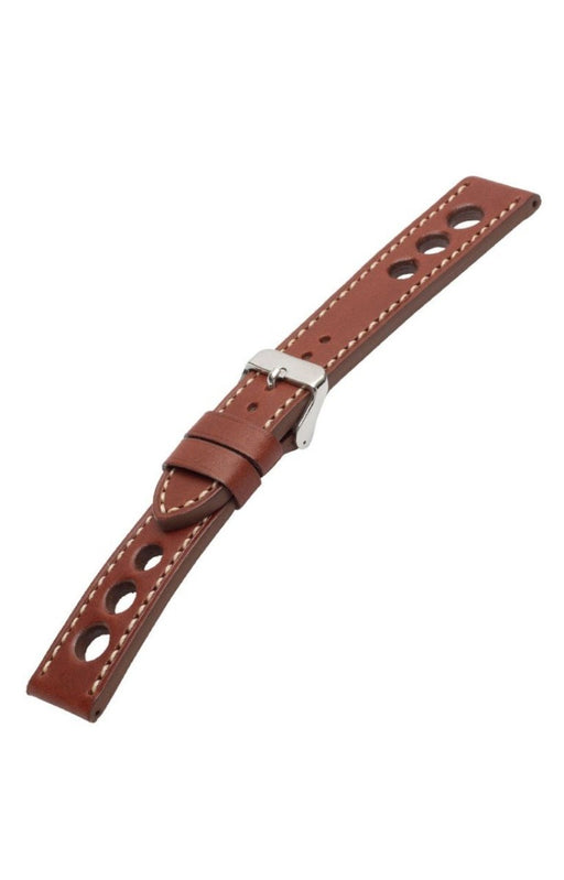 Grand Prix Leather Brown-White Stitch watch band - Strapped For Time