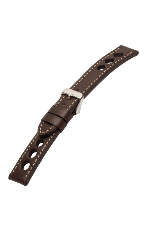 Grand Prix Leather Dark Brown-White Stitch watch band - Strapped For Time