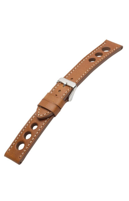 Grand Prix Leather Tan-White Stitch watch band - Strapped For Time