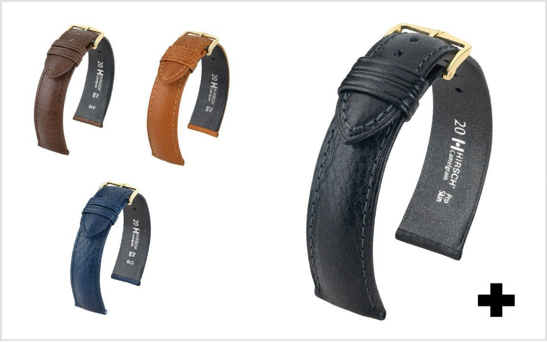 Hirsch Camelgrain Watch Band Black watch band - Strapped For Time