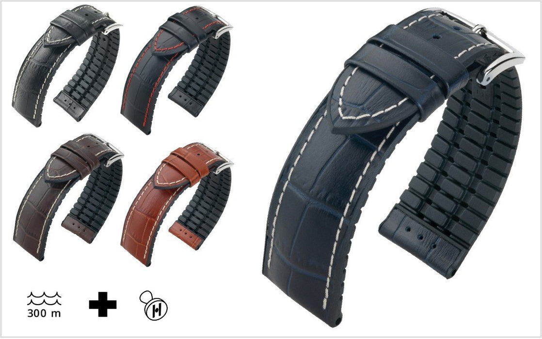 Hirsch George Watch Band Black-Red watch band - Strapped For Time