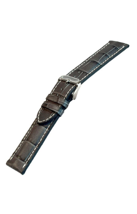 Padded Alligator Grain Leather Gray-White Stitch watch band - Strapped For Time