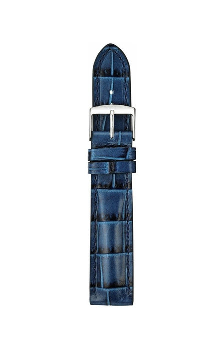 Padded Alligator Grain Leather Watch Band Blue watch band - Strapped For Time