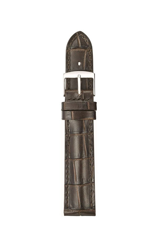 Padded Alligator Grain Leather Watch Band Dark Brown watch band - Strapped For Time