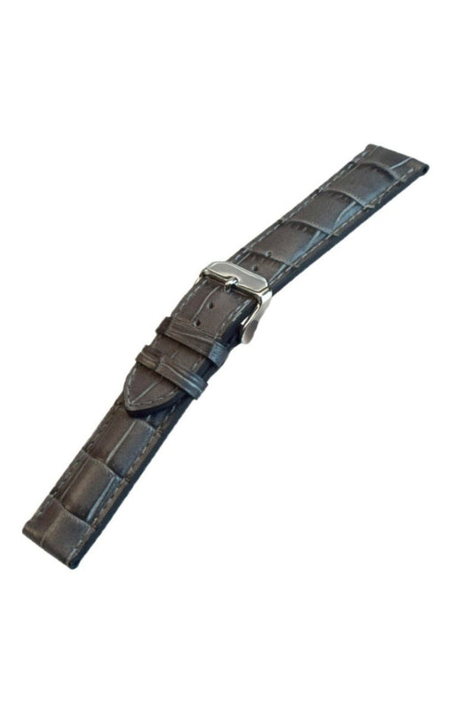 Padded Alligator Grain Leather Watch Band Gray watch band - Strapped For Time