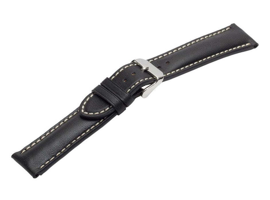 Padded Chrono Leather Watch Band Black watch band - Strapped For Time