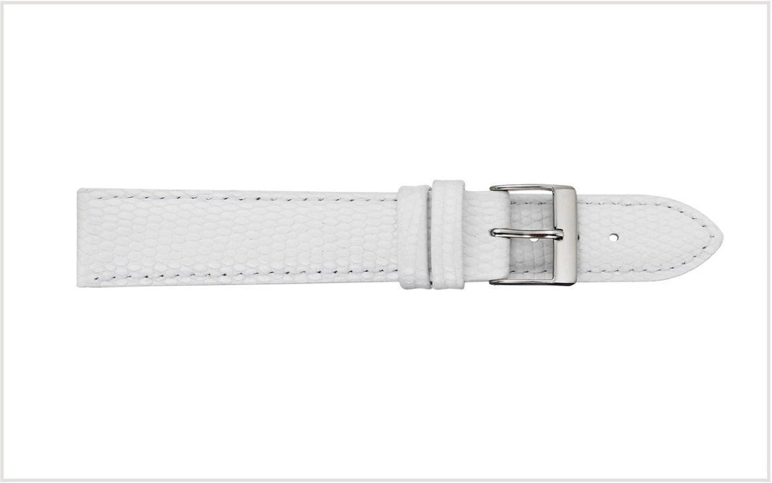 Padded Lizard Grain Watch Band White watch band - Strapped For Time