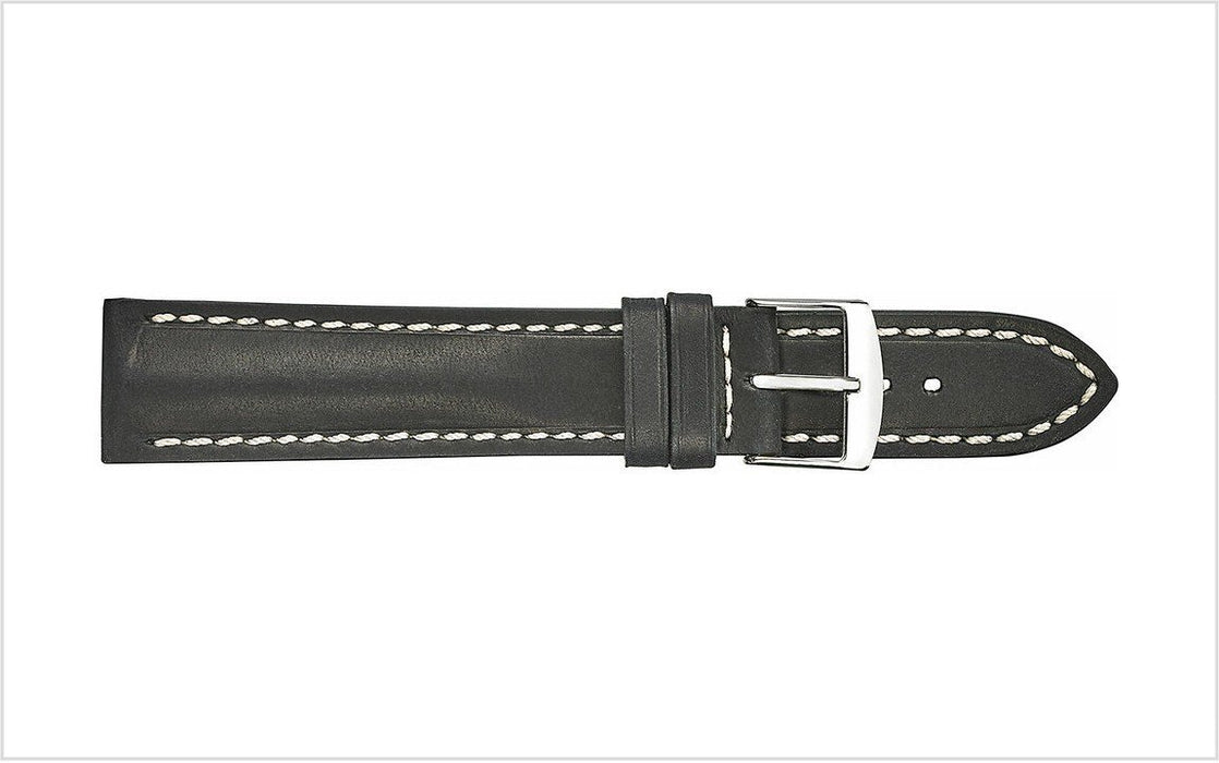 Padded Vintage Leather Watch Band Black watch band - Strapped For Time