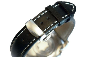 Polished Push Button Clasp watch band - Strapped For Time - Fine Quality Watch Bands