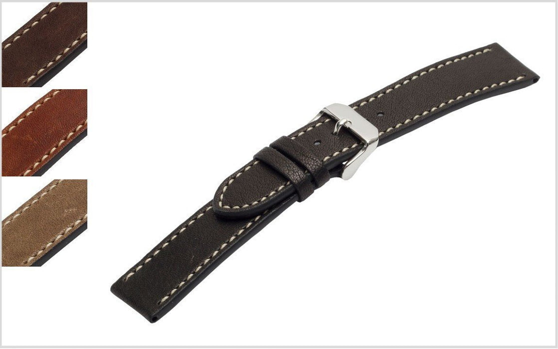Premium Classic Leather Watch Band Dark Brown watch band - Strapped For Time