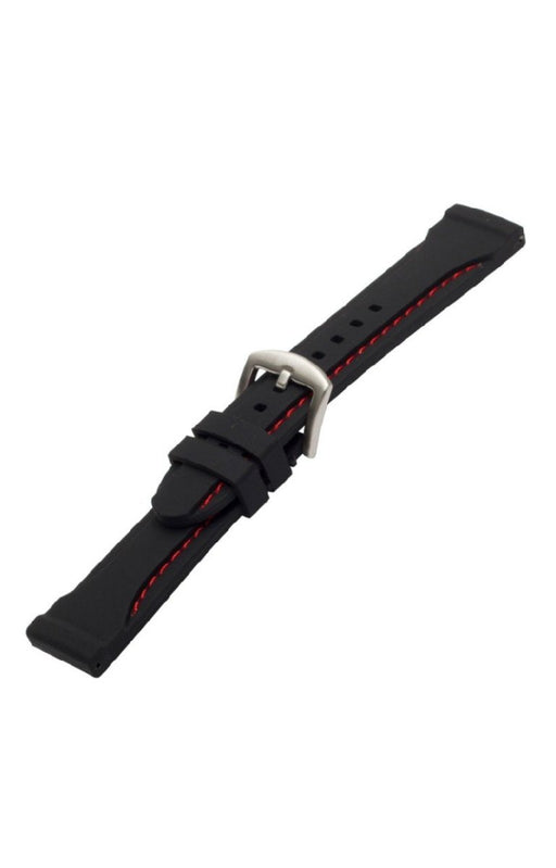 Thick Silicone Watch Band Red Stitch watch band - Strapped For Time
