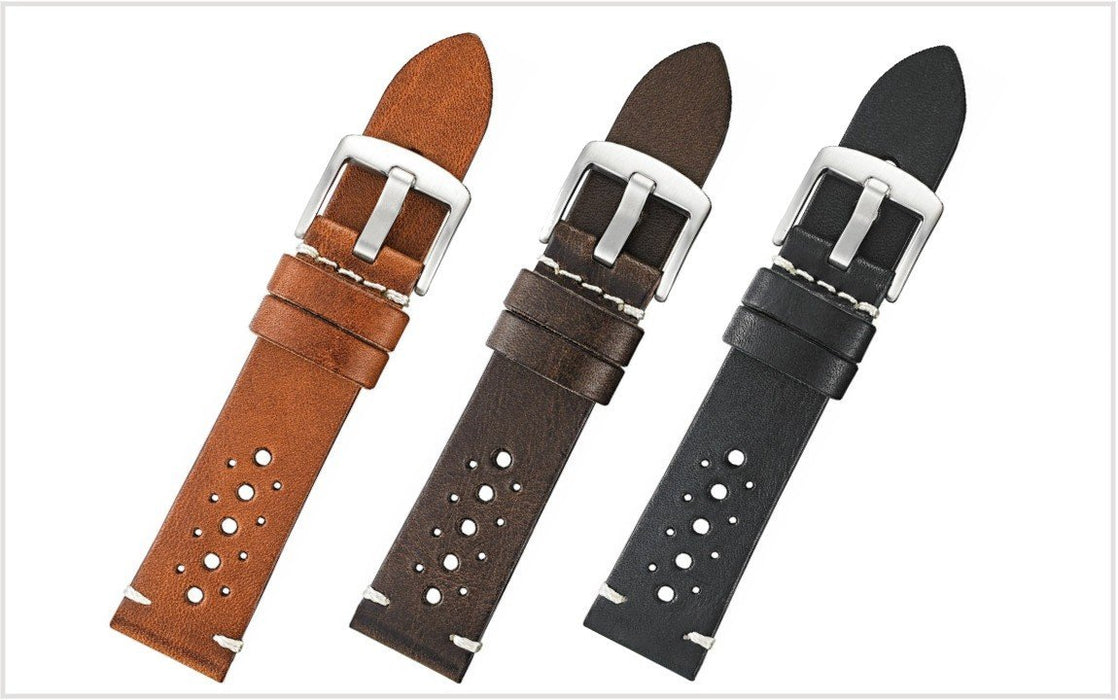 Vintage Rally Leather Watch Band Brown watch band - Strapped For Time