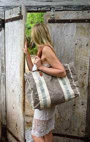 Royale stoere canvas strandtas - shopper - weekendtas met rits