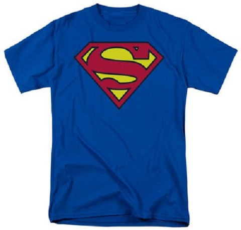 Official ~ Men's Superman T-Shirt ~ Classic Logo on blue