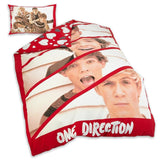 One Direction Red Panel Reversible Single Duvet Quilt Cover Set