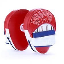 Hatton Boxing ~ Men's PU Curved Hook and Jab Pads ~ Red/White, One Size
