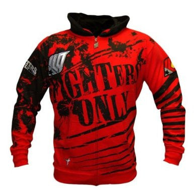 Fighters Only Men's 'Splatter' Hoodie Top - Red