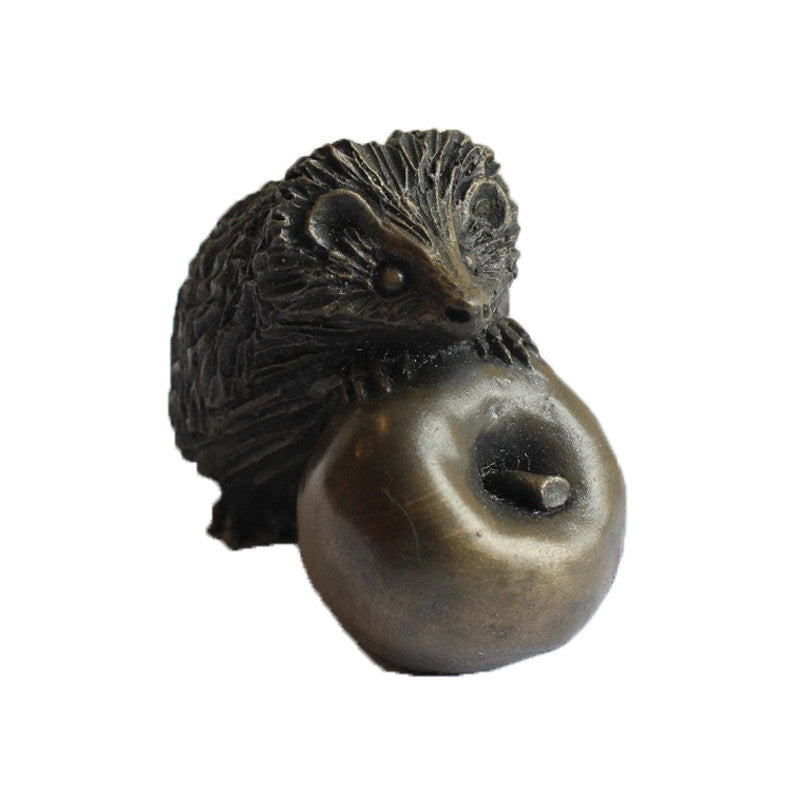 Small Hedgehog on Apple Cold Cast Bronze Resin Sculpture
