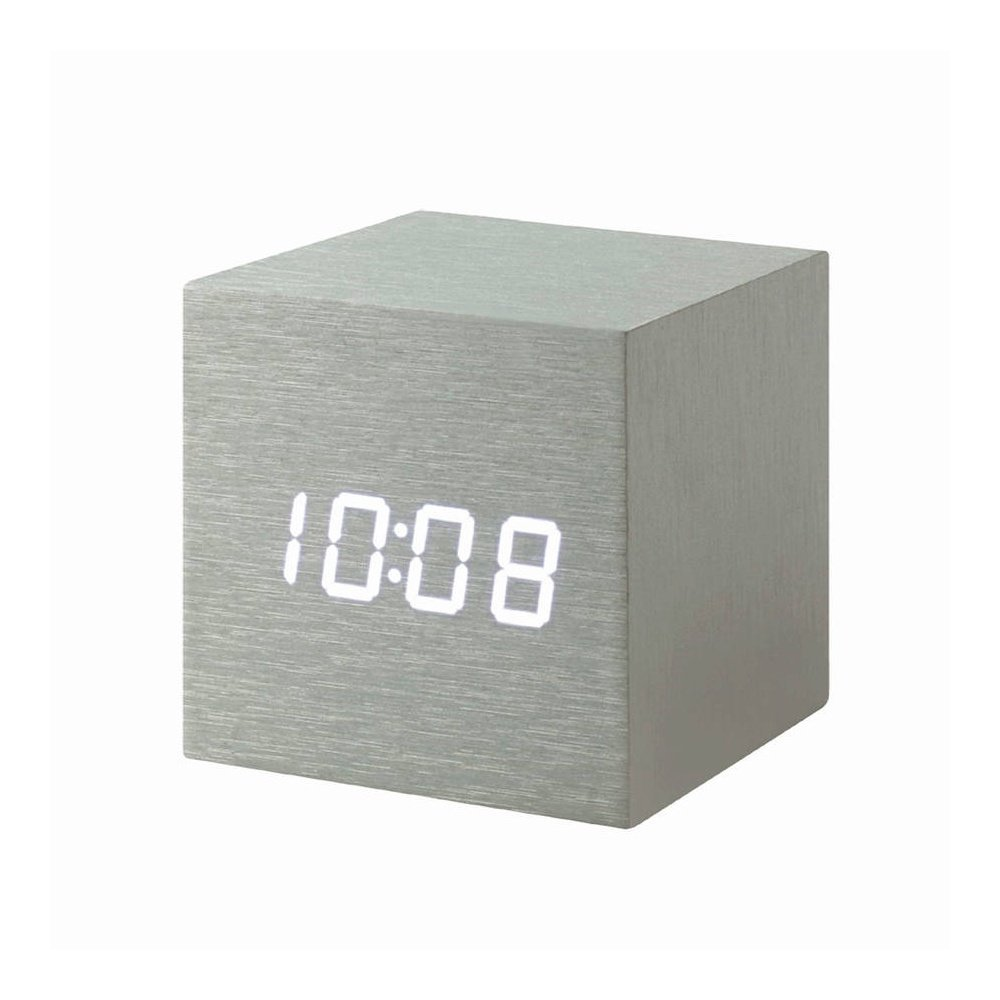 Gingko Aluminum Cube Click Clock with White LED
