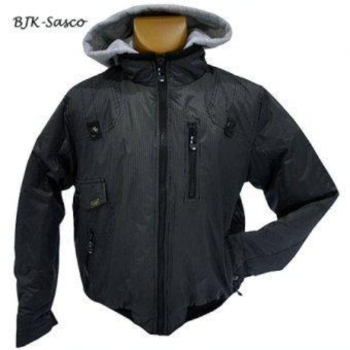 BJK Sasco Boys Jacket - Black / Grey Pinstripes with Grey Hood