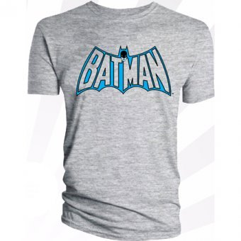 Men's Batman Logo Grey Retro Style T-Shirt