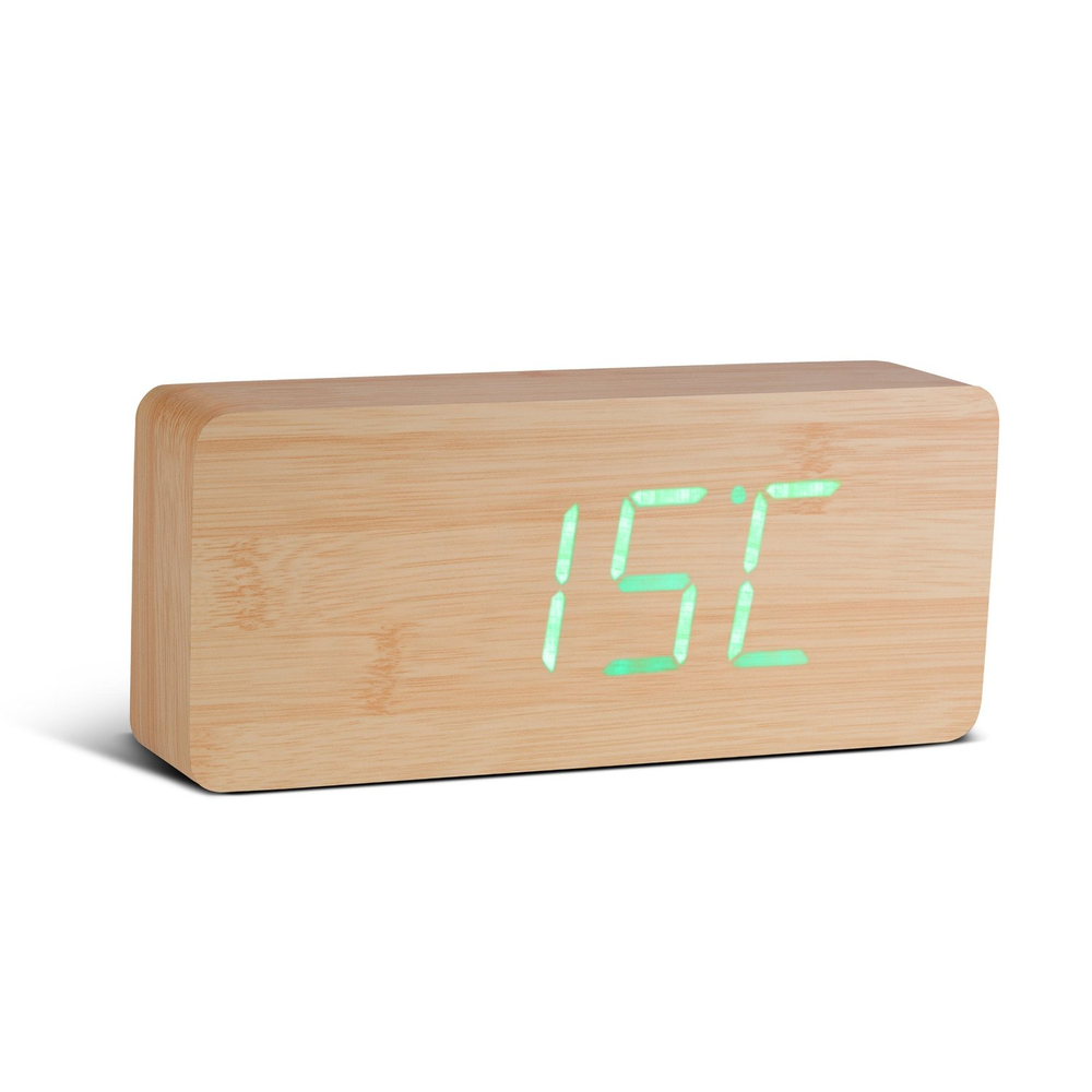 Gingko Slab Click Clock Beech / Green LED