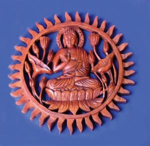 Carved Wooden Buddha Wall Plaque 25cm * Sunlover Buddhism * Handmade Fair trade