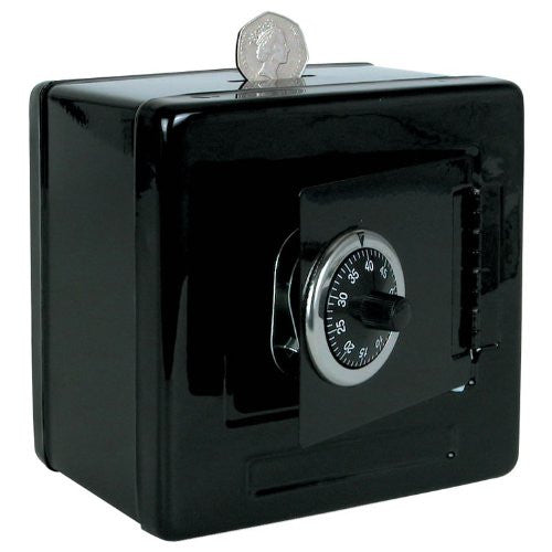 Combination Lock Metal Money Box Safe - Black