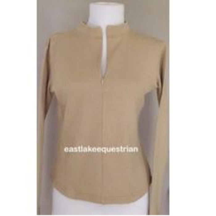 Horseworks Equestrian Long Sleeved Neck Zip Top / Shirt - Beige - Size 12
