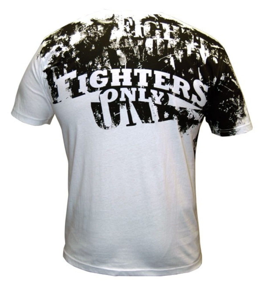 BAck of Fighters Only White Splatter MMA T-Shirt