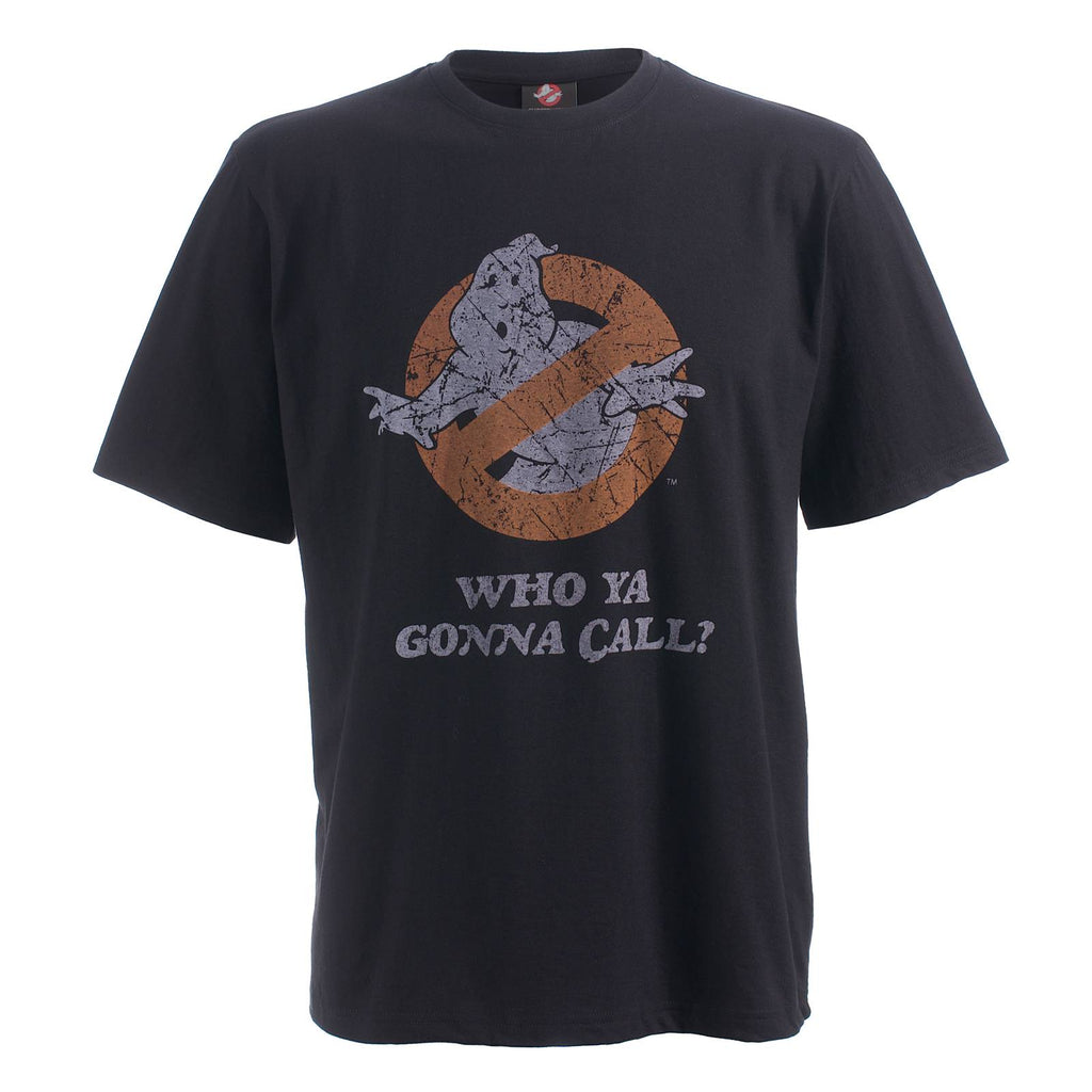 Official Ghostbusters t-shirt for Men - Who Ya Gonna Call? - ~~Black with distressed logo~~