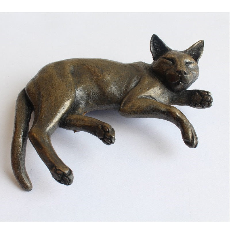 Shelf Cat Cold Cast Bronze Resin Sculpture