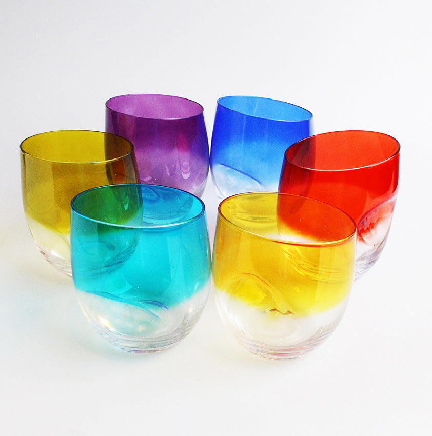 Dimple Whisky Tumblers Set Of 6 Assorted Colours