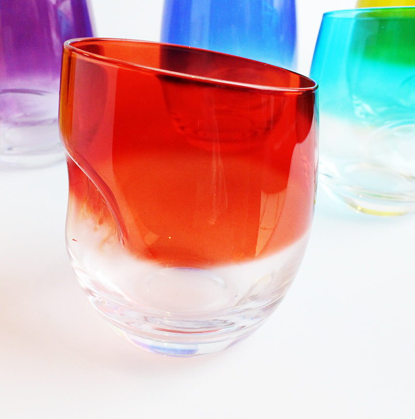 Dimple Whisky Tumblers Set Of 6 Assorted Colours Single
