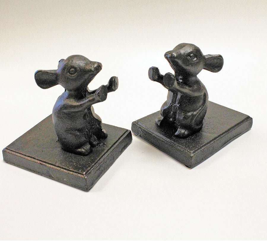 Cast Iron Mice Bookends