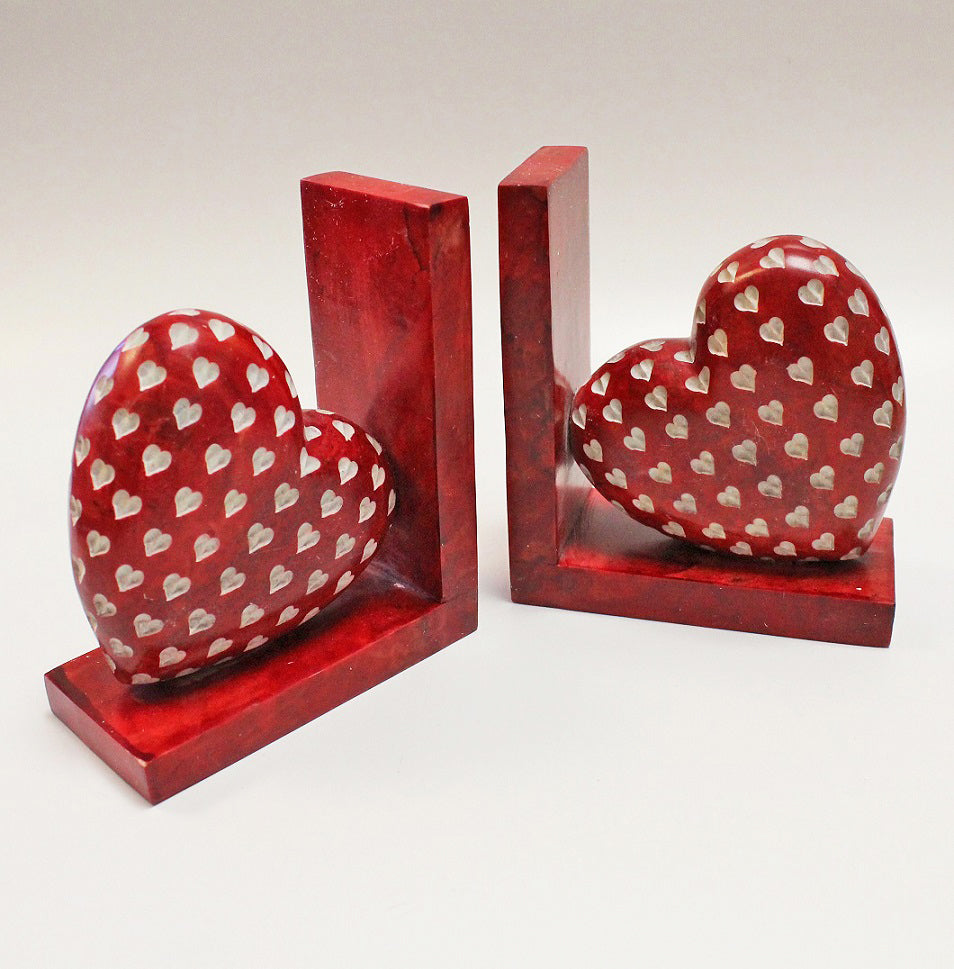 Red Love Heart Bookends by Stone The Crows
