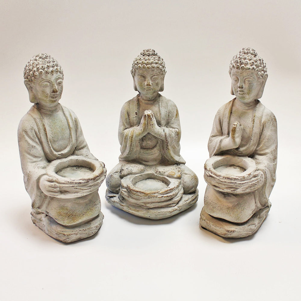 Buddha Stone Tealight Holders Set of 3 by Stone The Crows