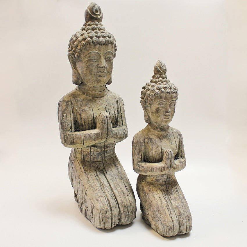 Large Kneeling Stone Buddha Pair by Stone The Crows
