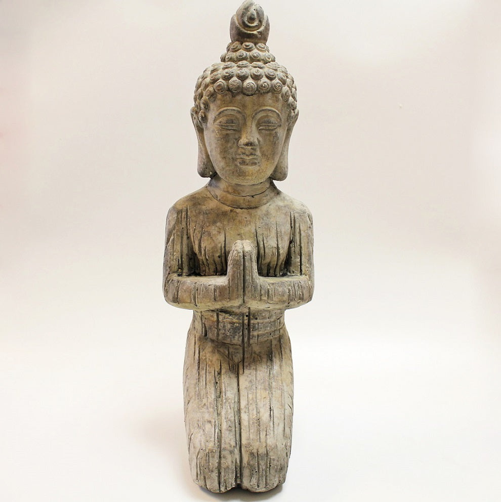 Large Kneeling Stone Buddha by Stone The Crows Front