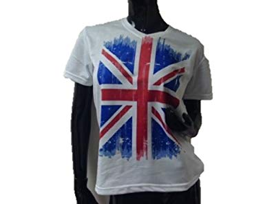 Ladies UK Grunge Flag Funky Rock V-Neck T-shirt