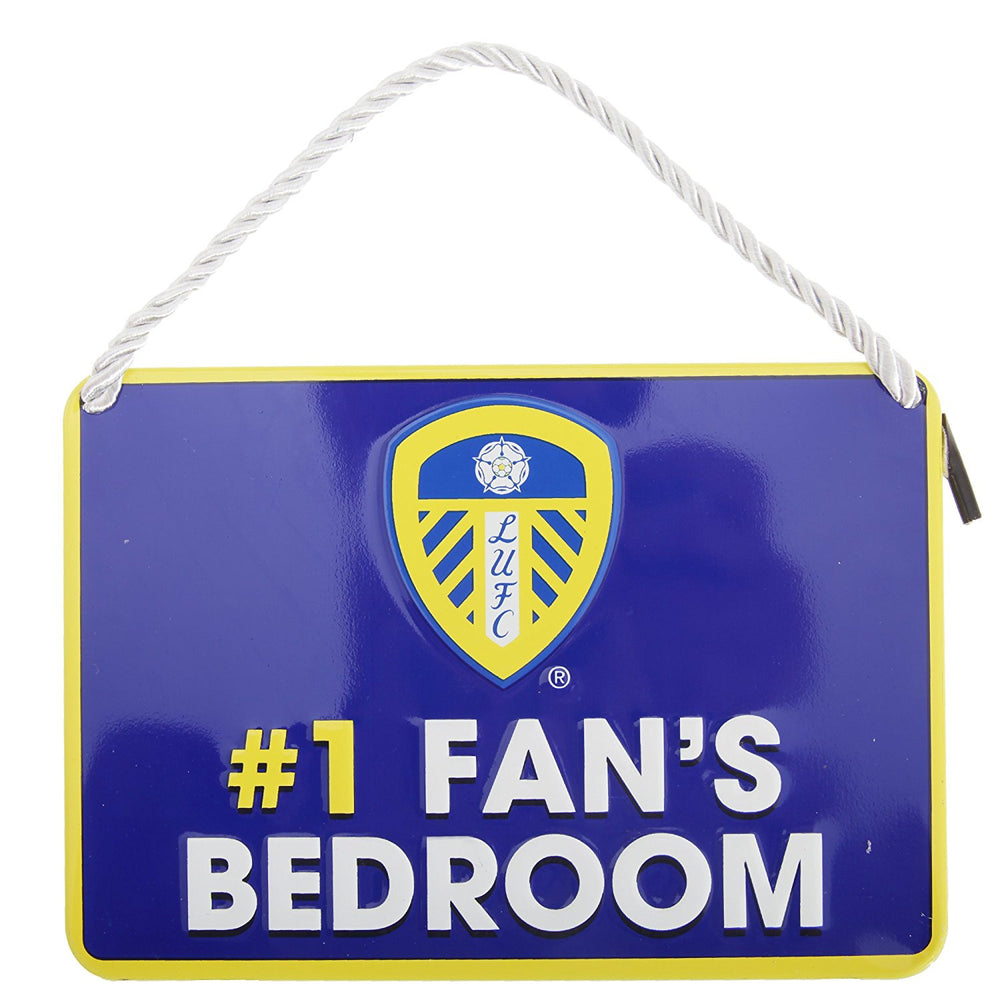 Leeds United 'No.1 Fan's Bedroom' Metal Wall Sign
