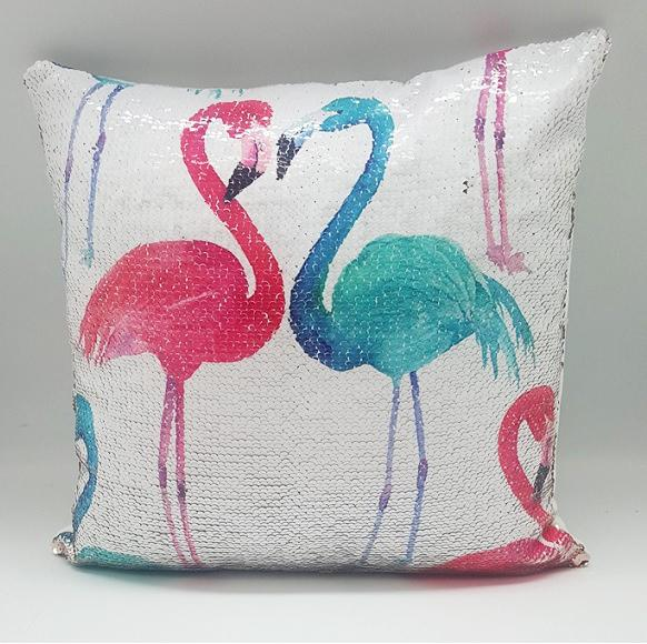 Blue & Pink Flamingo Sequin Cushion 16""