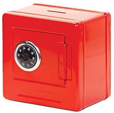 Combination Lock Metal Money Box Safe - Red