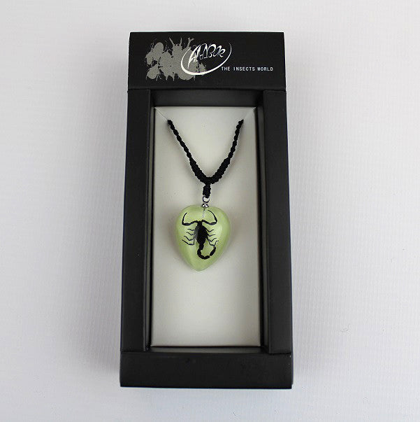 Real Insect 'Black Scorpion' Glow Love Heart Necklace