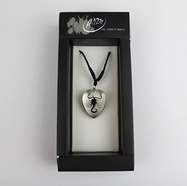 Real Insect 'Black Scorpion' Clear Love Heart Necklace