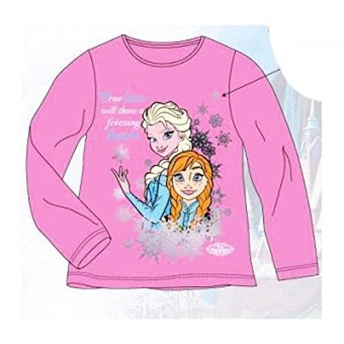 Official Girls Disney 'FROZEN' long sleeve t-shirt Pink Elsa & Anna