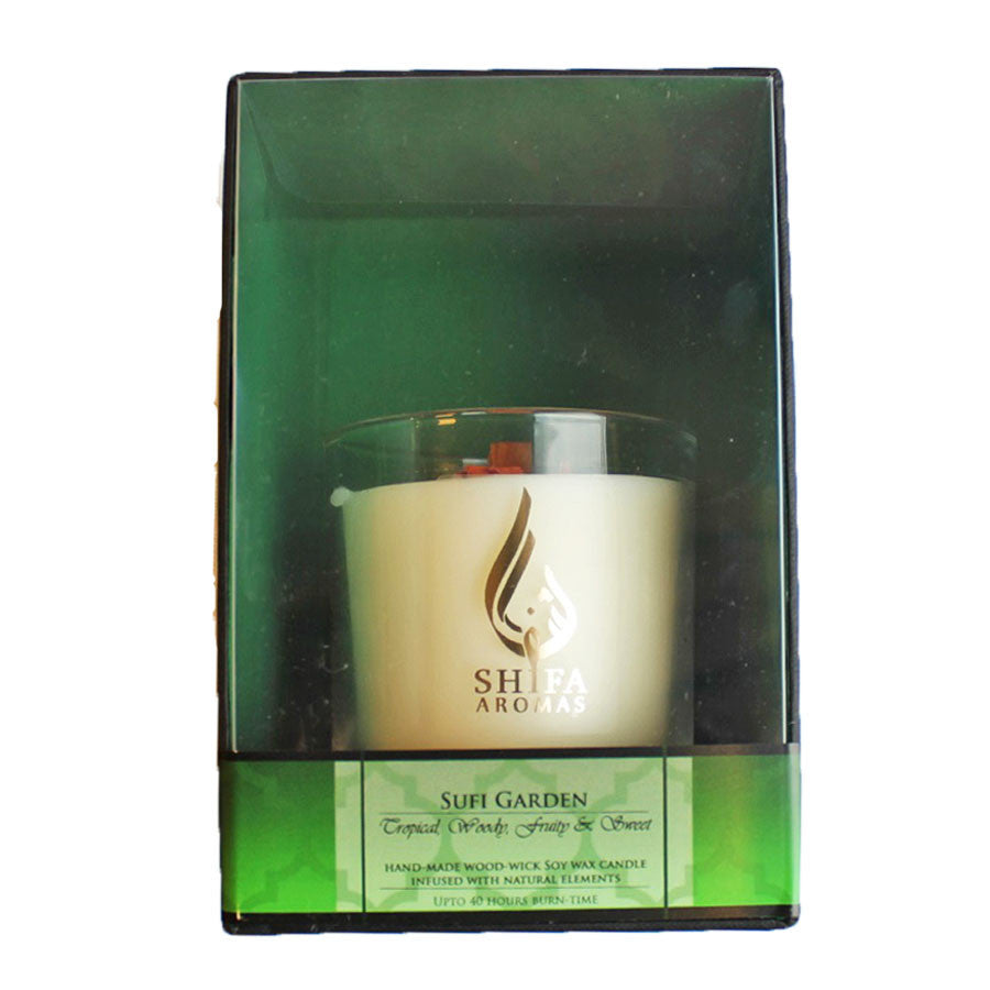 Shifa Aromas - Luxury Glass Jar Candle with Wooden Wick - Sufi Garden