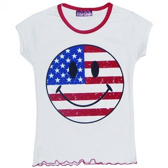 USA Smiley Girls Funky White T-Shirt